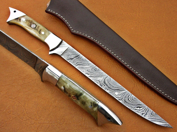 Custom Handmade Damascus Steel Fillet Fish Knife With Leather Sheath....Knives Hub