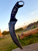 |Knives Hub| Custom Handmade Damascus Steel Karambit Knife With Leather Sheath