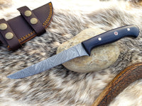 Custom Handmade Damascus Steel Fillet Fishing Knife With Leather Sheath....Knives Hub