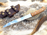 Custom Handmade D2 Steel High Polished Mirror Fillet Fishing Knife With Leather Sheath