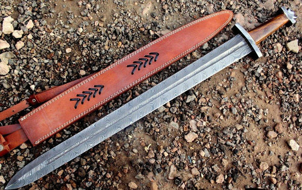 |Knives Hub| Custom Handmade Damascus Steel Viking Sword With Leather Sheath