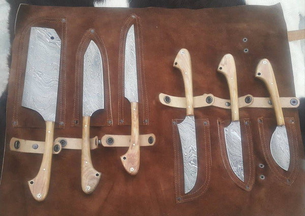 |Knives Hub| Custom Handmade Twist Damascus Steel Outdoor Hunting/Kitchen Knives Set