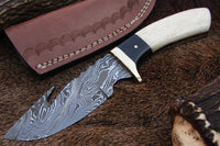 |Knives Hub| Custom Handmade Damascus Steel Gut Hook Knife With Leather Sheath