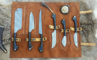 Custom Handmade Twist Damascus Steel Outdoor Hunting/Kitchen Knives Set With Leather Roll Kit....Knives Hub
