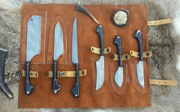Custom Handmade Twist Damascus Steel Outdoor Hunting/Kitchen Knives Set....Knives Hub
