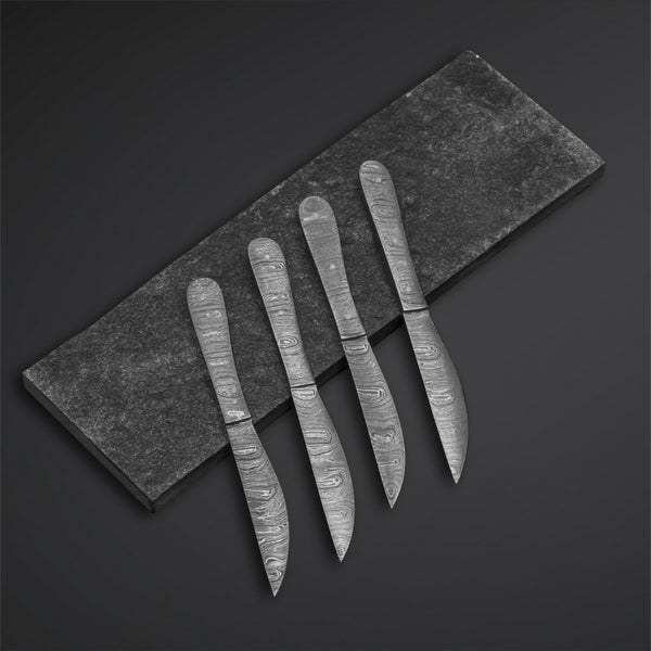 |Knives Hub| Custom Handmade Damascus Steel Steak Knives With Leather Sheath