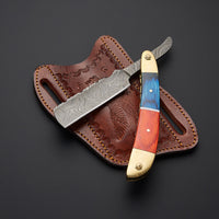 Custom Handmade J2 Steel Straight Razor With Leather Sheath....Knives Hub
