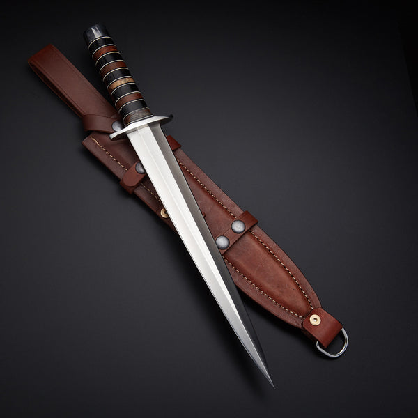 Custom Handmade D2 Steel Dagger Knife With Leather Sheath.....Knives Hub