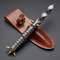 Custom Handmade Damascus Steel Dagger Knife With Quality Leather Sheath