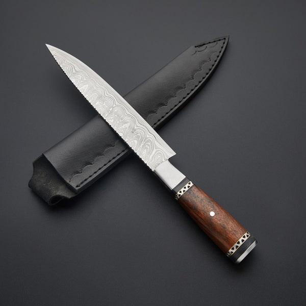 |Knives Hub| Custom Handmade Damascus Steel Kitchen\Chef Knives With Leather Sheath