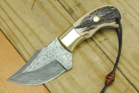 Custom Handmade Damascus Steel Skinning Stag Horn Knife With Leather Sheath....Knives Hub