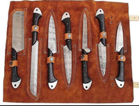 Custom Handmade Damascus Steel Chef/Kitchen Knives Set With Leather Roll Kit
