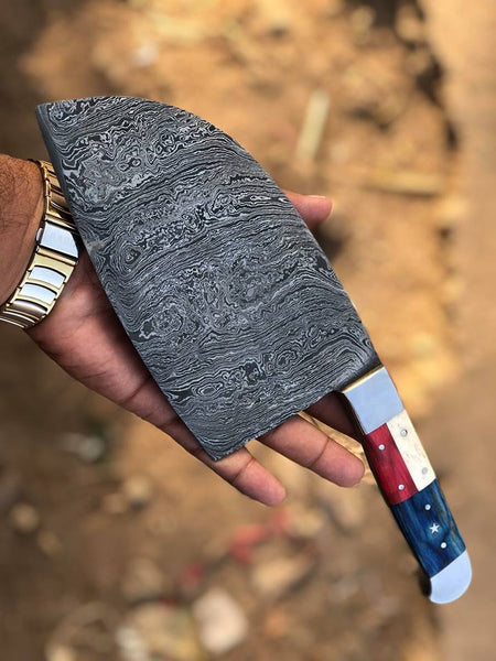 Custom Handmade Damascus Steel Cleaver Knife Texas Handle With Leather Sheath....Knives Hub