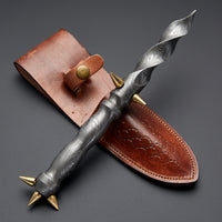 |Knives Hub| Custom Handmade Damascus Steel Dagger Knife With Leather Sheath