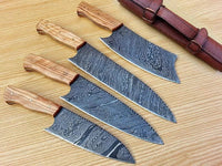 Full Tang Custom Handmade Damascus Steel Kitchen Knives With Leather Roll Kit....Knives Hub