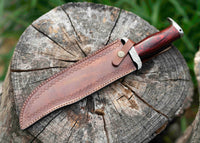 Custom Handmade Damascus Steel Bowie Knife With Leather Sheath