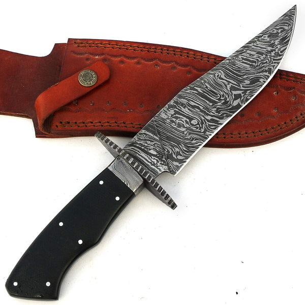 |Knives Hub| Handmade Damascus Steel Bowie Hunting Knife Micarta Handle With Leather Sheath