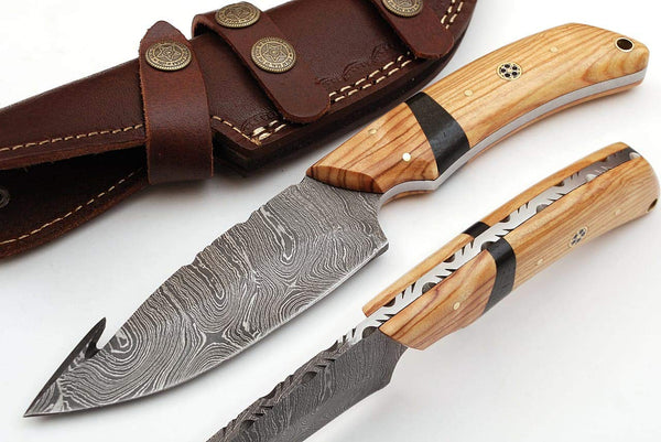 |Knives Hub| Custom Handmade Damascus Steel Gut Hook Hunting Skinning Knife With Leather Sheath
