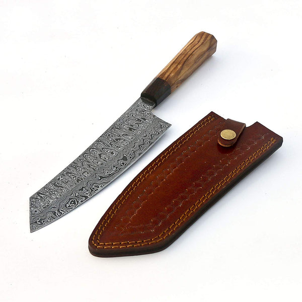 |Knives Hub| Handmade Damascus Steel Kitchen Chef Knife With Leather Sheath