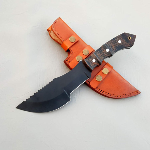 |Knives Hub| Handmade Carbon Steel Tactical Tracker Knife with leather sheath 13 Inches