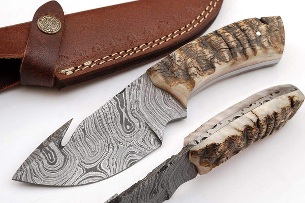 |Knives Hub| Beautiful Damascus Gut Hook Knife Made of Remarkable Damascus Steel Ram Handle/w Brown Leather Sheath