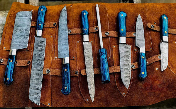 Custom Handmade Damascus Steel Kitchen Chef Knives With Leather Roll Kit....Knives Hub