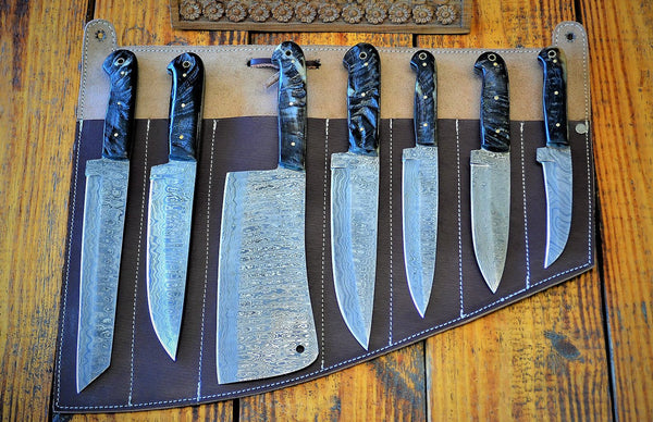 Custom Handmade Beautiful Ram Horn Handle 7 Pieces Kitchen Chef Knives With Leather Roll Kit....Knives Hub