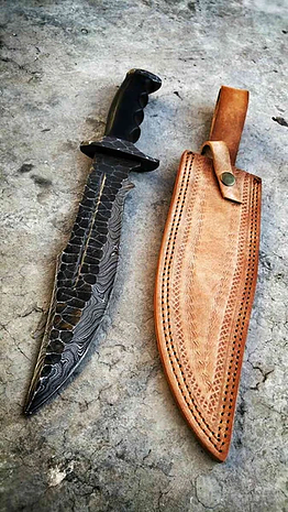 DAMASCUS FORGED HUNTING KNIFE WITH LEATHER SHEATH....Knives Hub