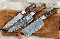 Damascus Steel 3 Pieces Kitchen Chef Knives With Leather Roll Kit....Knives Hub