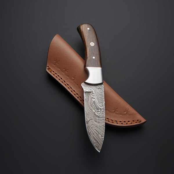 Custom Handmade Damascus Steel Skinning Knife With Leather Sheath....Knives Hub