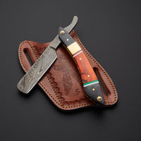 |Knives Hub| Custom Handmade J2 Steel Straight Razor With Leather Sheath