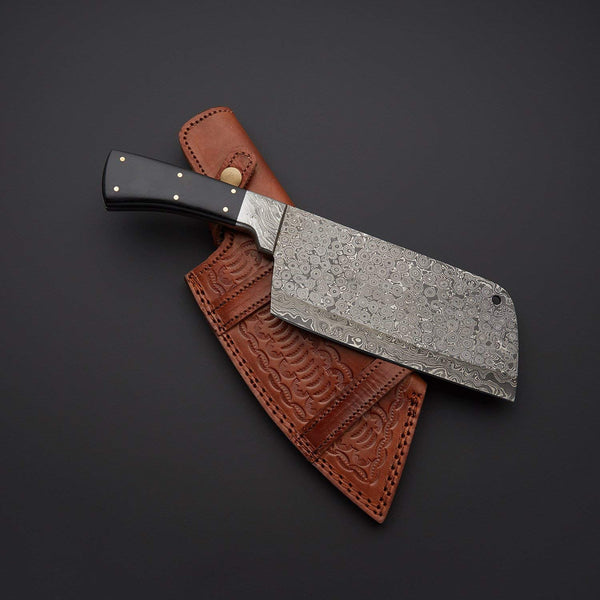 |Knives Hub| Handmade Damascus Steel Kitchen Chef Cleaver Chopper Knife With Leather Sheath