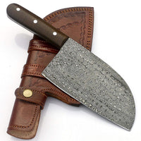 Custom Handmade Damascus Steel Cleaver Knife With Leather Sheath