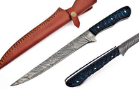 Custom Made Damascus Steel Fillet Knife/Kitchen Knife/Chef Knife With Leather Sheath....Knives Hub