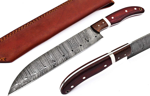 |Knives Hub| Custom Made Damascus Steel Chef Knife/Kitchen Knife With Leather Sheath