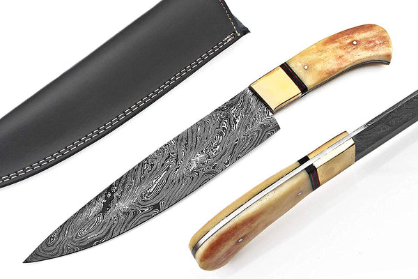 |Knives Hub| Custom Made Damascus Steel Kitchen Knife/Chef Knife With Leather Sheath