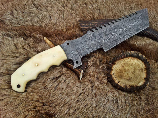 |Knives Hub| Custom Handmade Damascus Steel Tacker Knife With Leather Sheath