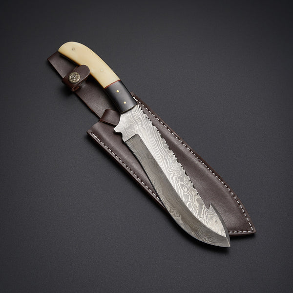 |Knives Hub| Custom Handmade Damascus Steel Hunting Knife With Leather Sheath
