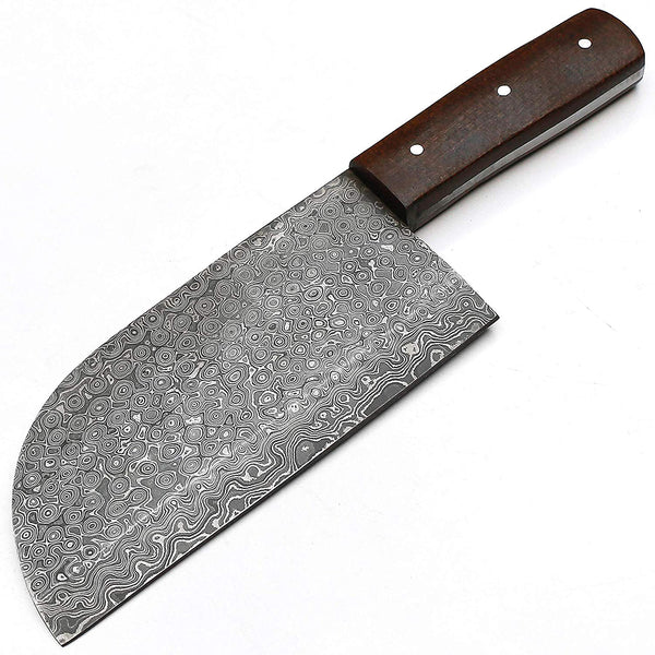 |Knives Hub| Full Tang Custom Handmade Damascus Steel Hunting Chef Cleaver Knife