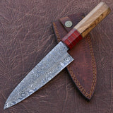 |Knives Hub| Handmade Damascus Steel Kitchen Chef Knife with Olve Wood and Pakka Wood Handle With Leather Sheath