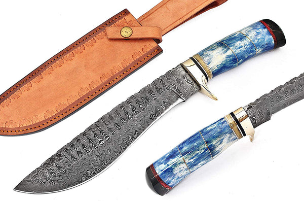 |Knives Hub| Custom Made Damascus Steel Hunting Knife/Bowie Knife With Leather Sheath