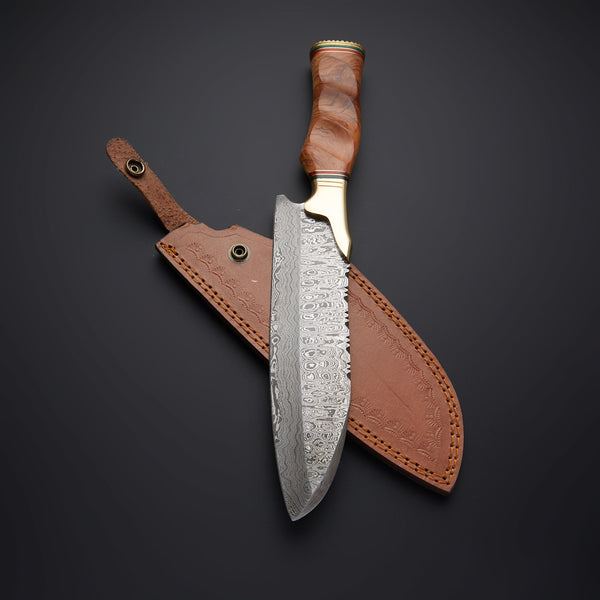 |Knives Hub| Custom Handmade Damascus Steel Kitchen\Chef Knife With Leather Sheath
