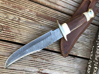 Custom Damascus Hunting Knife - Beautiful Bowie Fixed Blade Knife With Leather Sheath