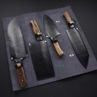 Custom Handmade Damascus Steel Chef\Kitchen Knives With Leather Roll Kit....Knives Hub