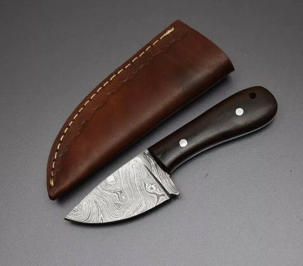 Custom Handmade Damascus Steel Skinner Knife EDC with Leather Sheath....Knives Hub