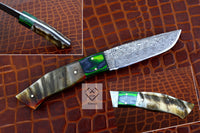 Custom Handmade Damascus Steel Skinning Knife Ram Horn Handle With Quality Leather Sheath