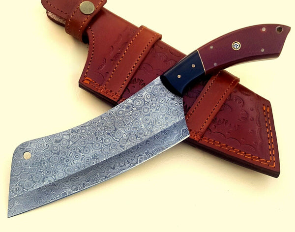 |Knives Hub| Damascus Steel Chef Kitchen Cleaver Knife Handmade 12 Inches Micarta Handle