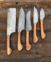 Custom Handmade Damascus Steel Kitchen Knife Set....Knives Hub