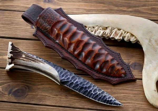 |Knives Hub| Custom Handmade Hand Forged 1095 Steel Viking Hunt With Leather Sheath