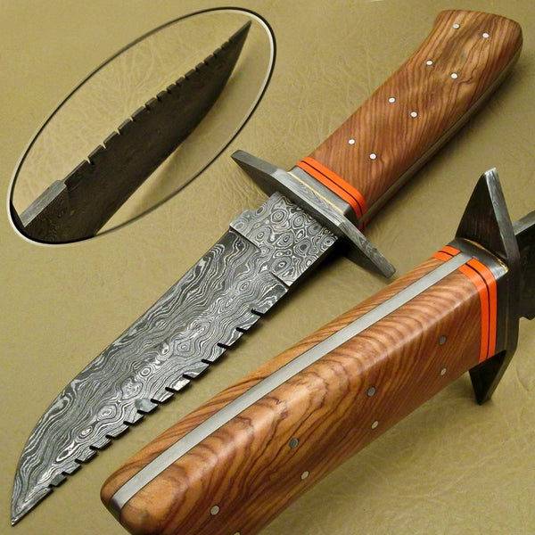 Custom Handmade Steel Hunting Knife With Leather Sheath....Knives Hub